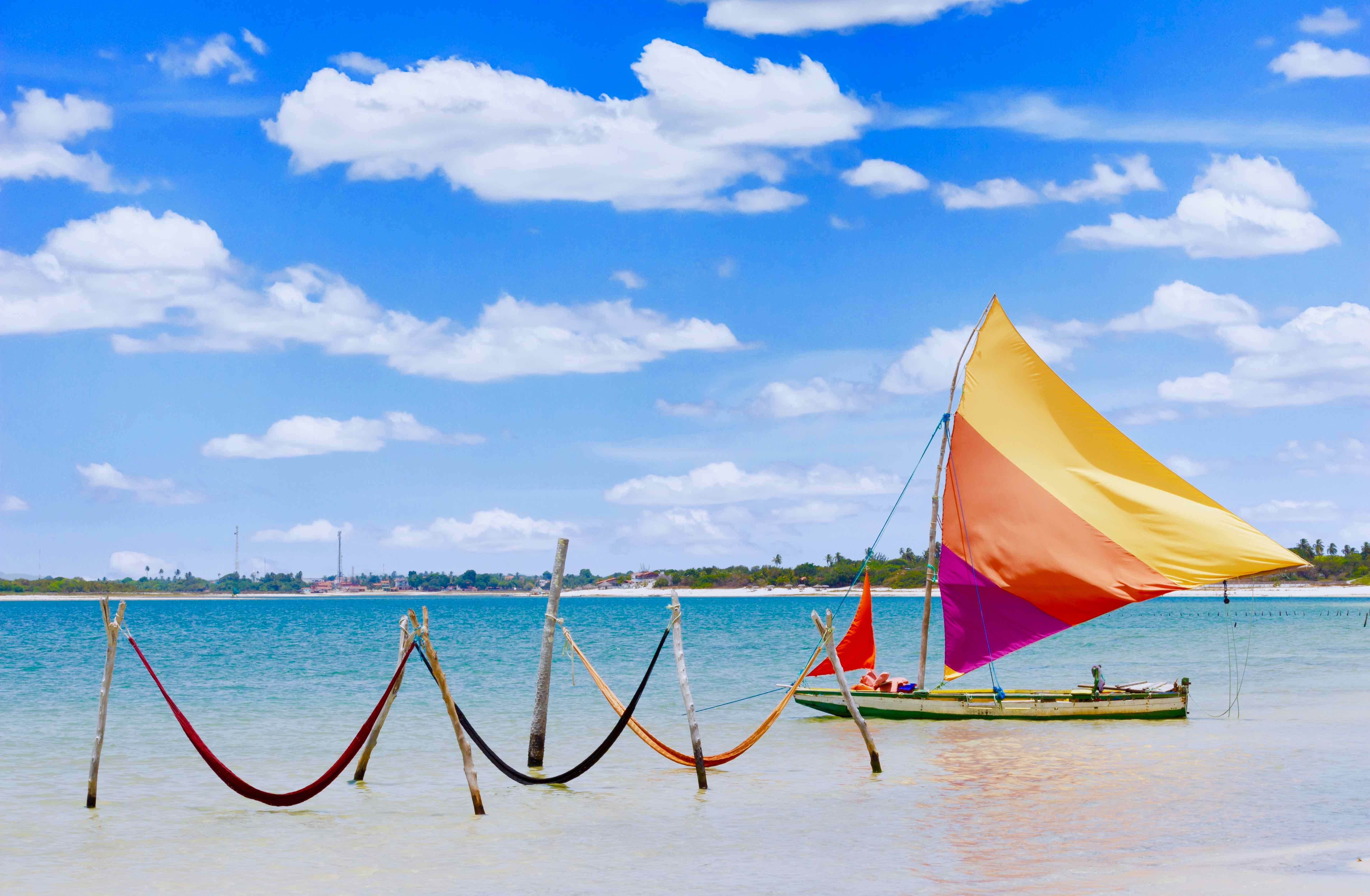 Canva – sail boat and hammocks at Jericoacoara, Brazil